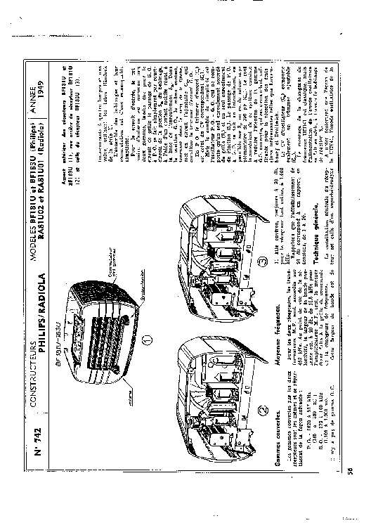 PHILIPS BF181U BF83U RADIOLA RA81U02 RA81U01 RADIO 1949 SM