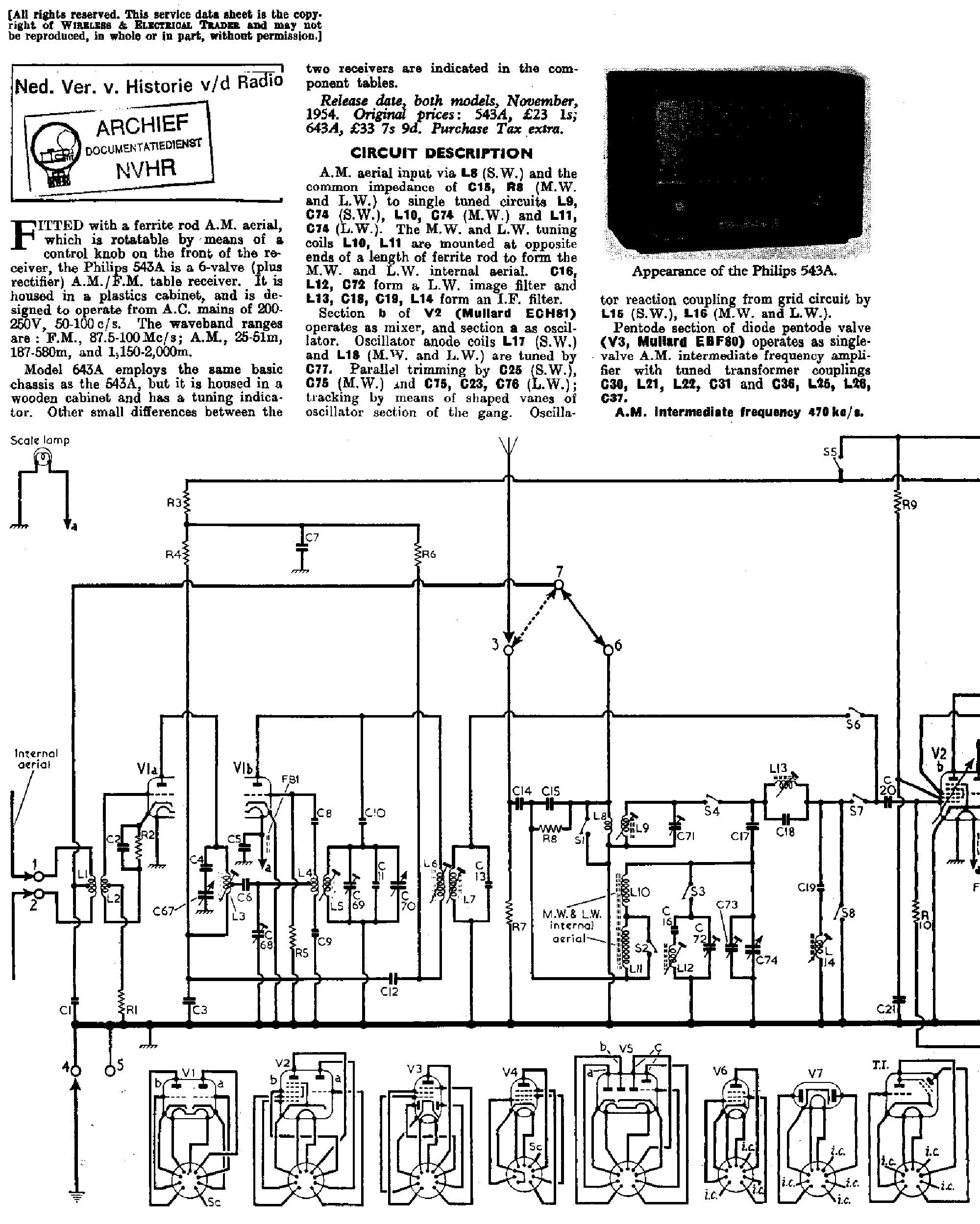 PHILIPS BG-543A 643A AM-FM RECEIVER 1955 SM Service Manual
