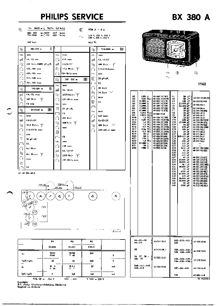 PHILIPS BX380A VINTAGE RADIO SM Service Manual download
