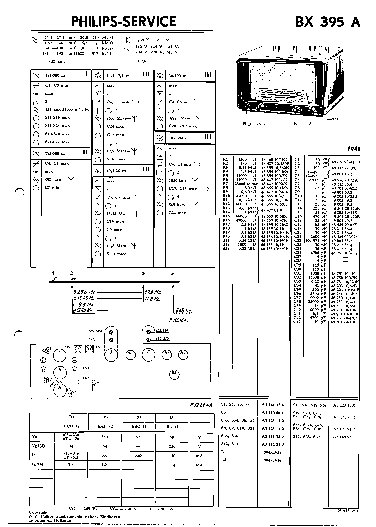 PHILIPS BX395A VINTAGE RADIO SM Service Manual download