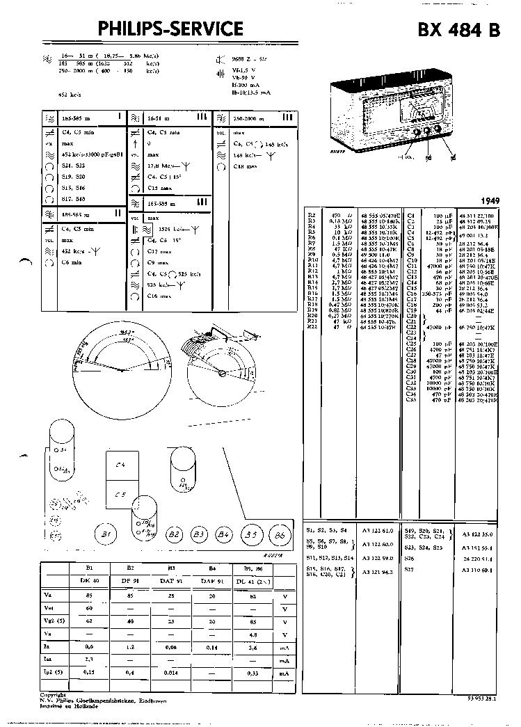 PHILIPS BX484B VINTAGE RADIO SM Service Manual download