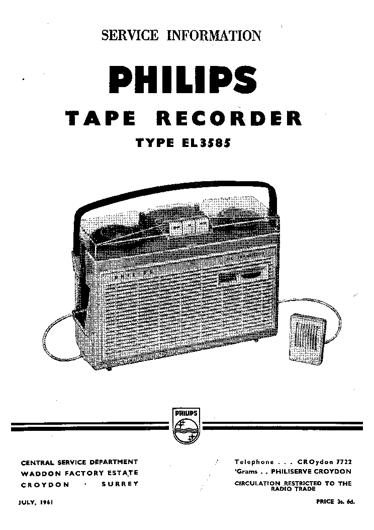 PHILIPS EL3585 PORTABLE TAPE RECORDER MAGNETOPHONE 1961 SM