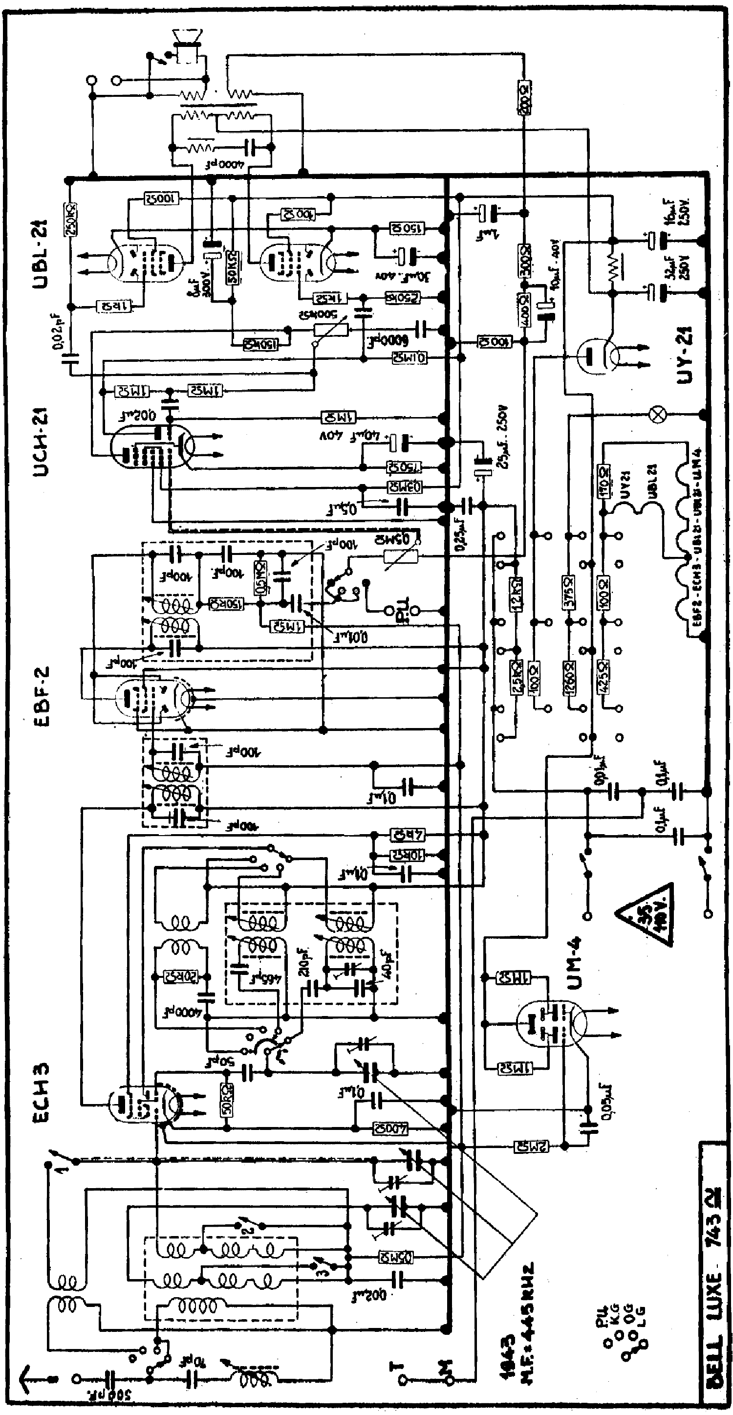 RADIOBELL 743U AC-DC RADIO 1943 SCH Service Manual