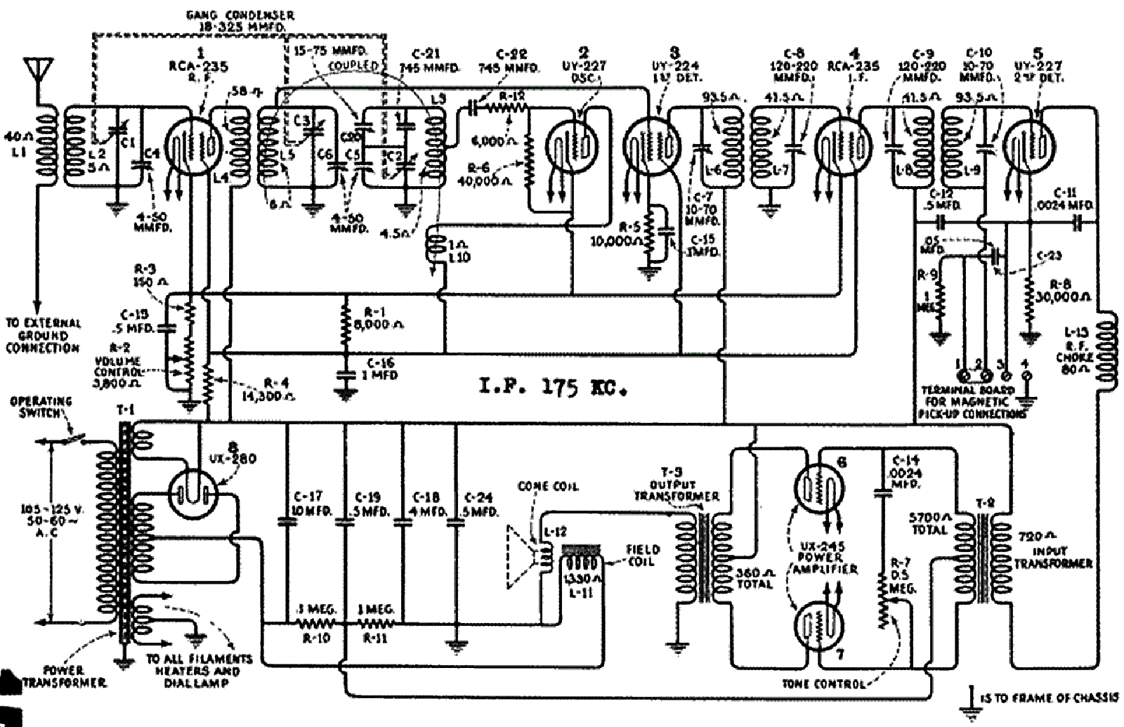 RCA R7 AC RADIO SCH Service Manual download, schematics