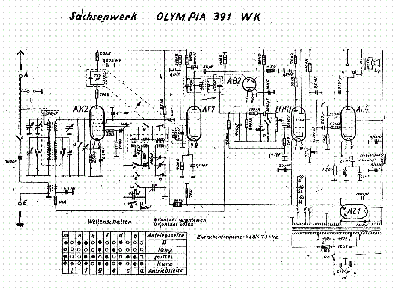 SACHSENWERK OLYMPIA-391WK Service Manual download