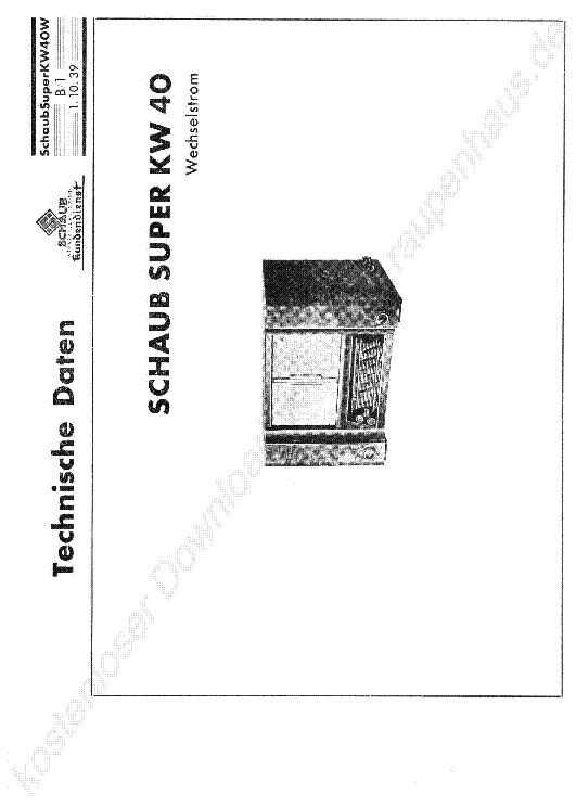 SCHAUB SUPER 229 II SCH Service Manual download