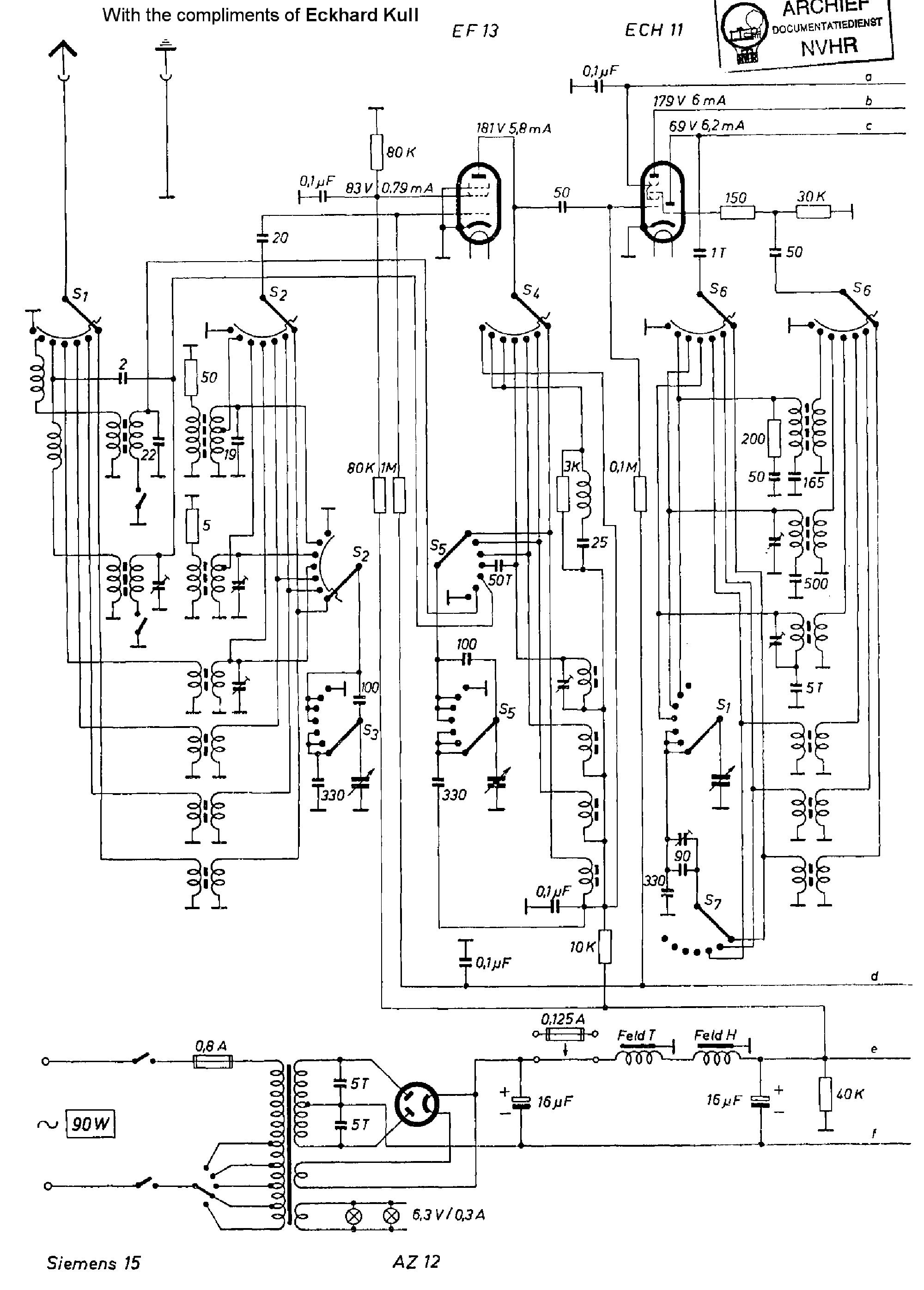 SIEMENS RB30 AM-FM RECEIVER 1962 SCH Service Manual