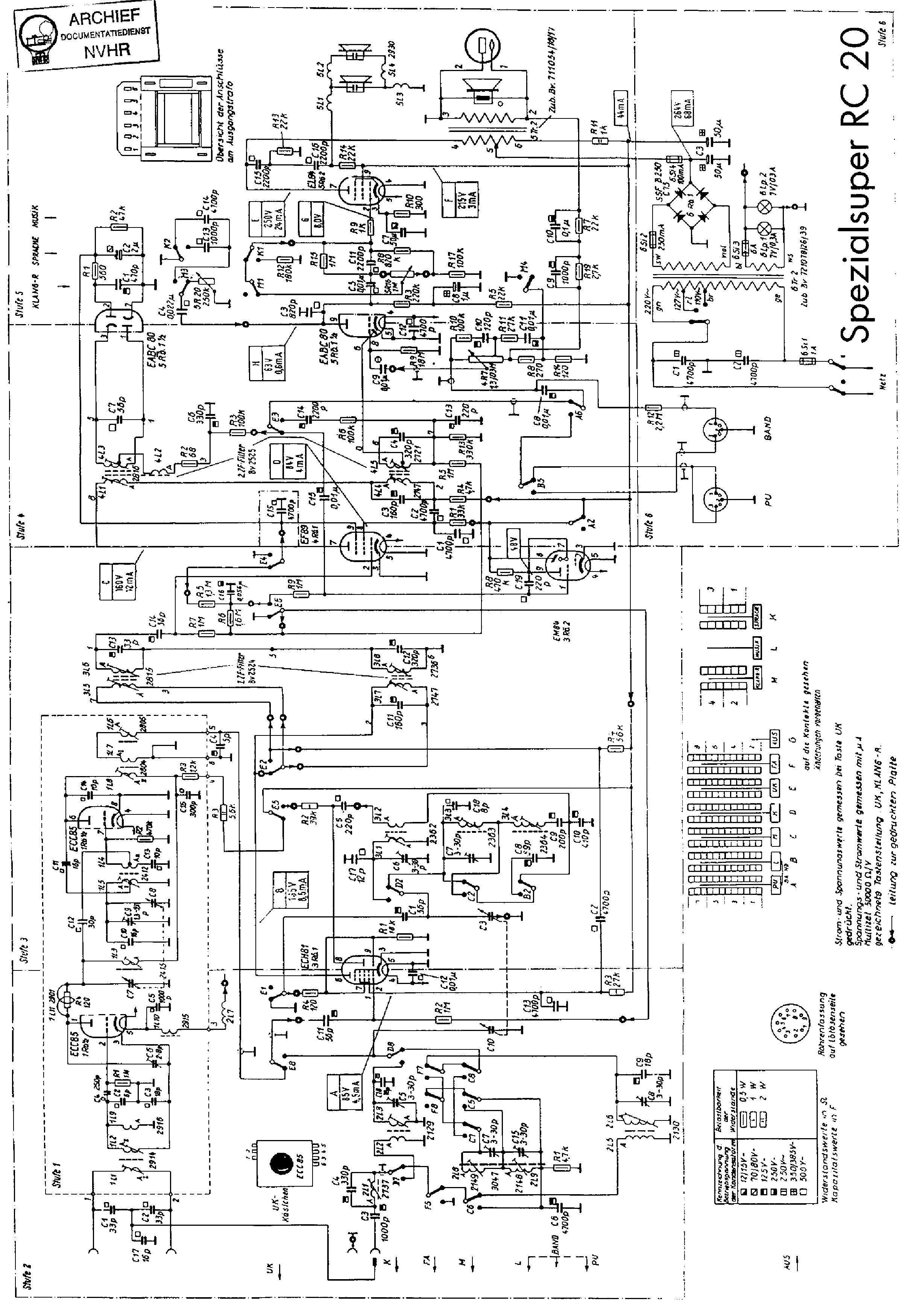 SIEMENS RC20 SPEZIALSUPER AM-FM RECEIVER 1961 SM Service