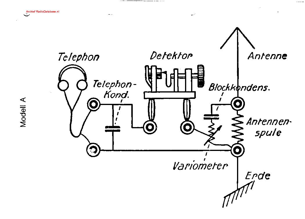 TELEFUNKEN A KOPFHORER DETEKTOR RADIO 1924 SCH Service