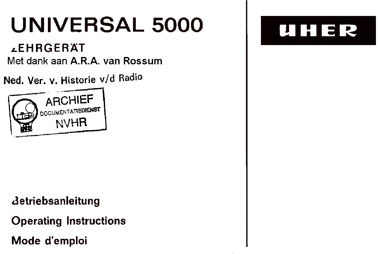 UHER UMA2000 Service Manual free download, schematics