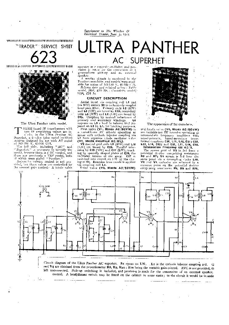 ULTRA PANTHER AC RADIO 1943 SM Service Manual download