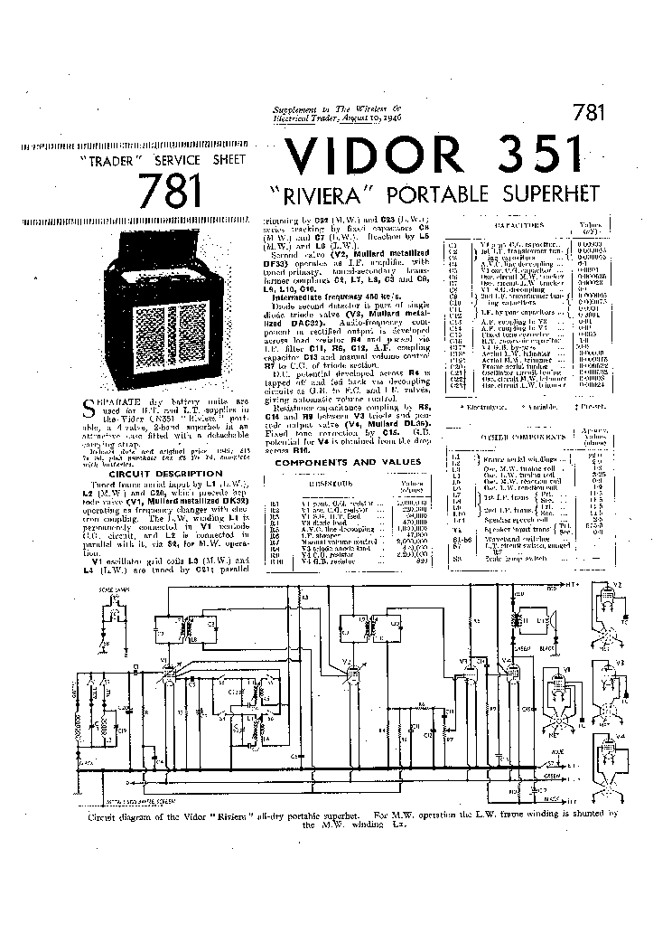 VIDOR 351 RIVIERA PORTABLE RADIO SCH Service Manual