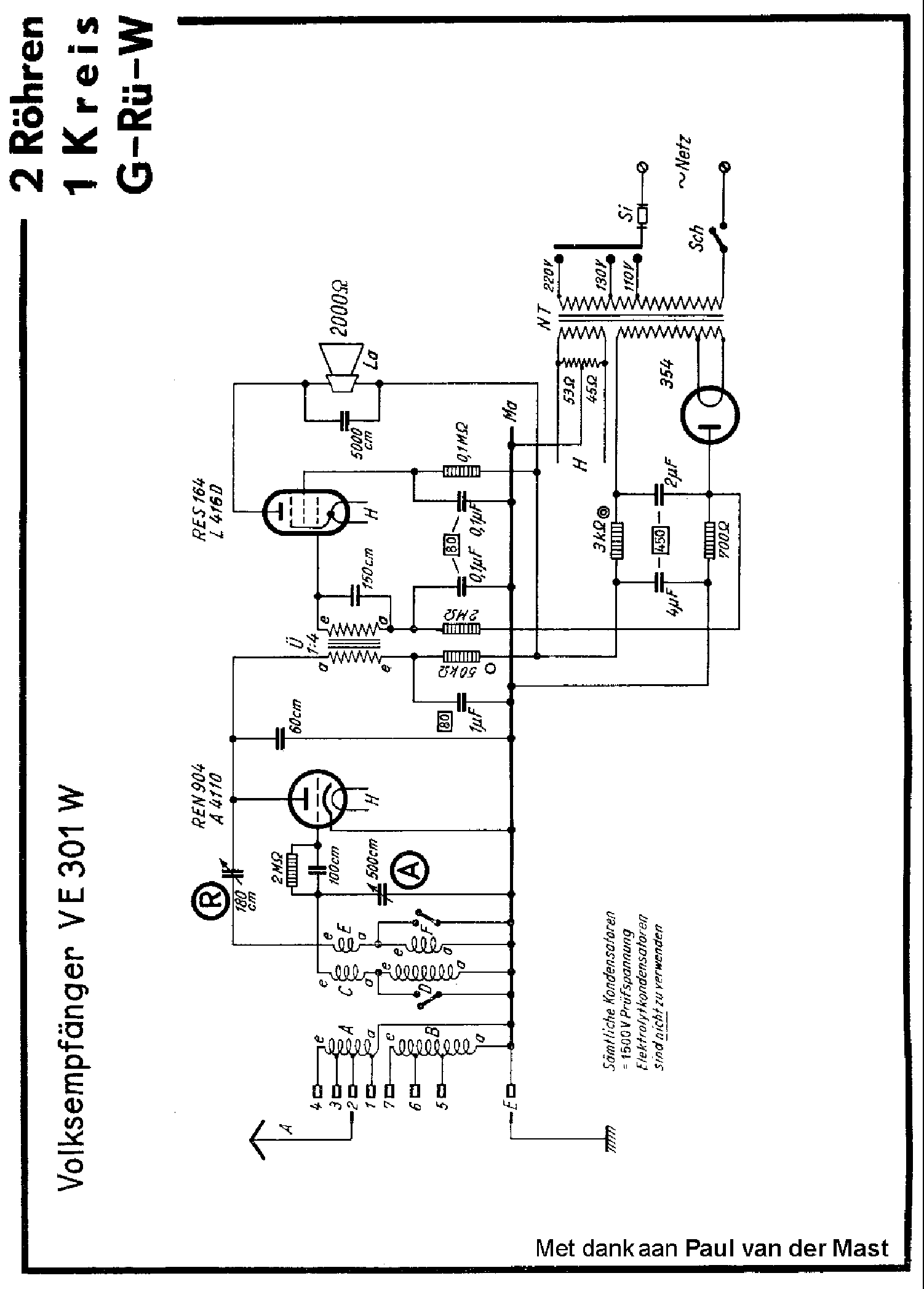 VOLKSONTVANGER VE301W AC RADIO SCH Service Manual download