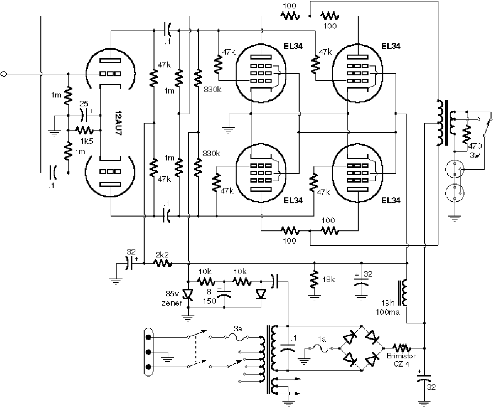 VOX AC30 BASS SCH Service Manual download, schematics