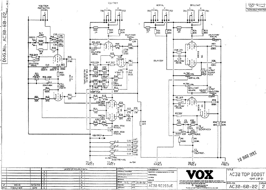 VOX AC30 93 PR SCH Service Manual download, schematics