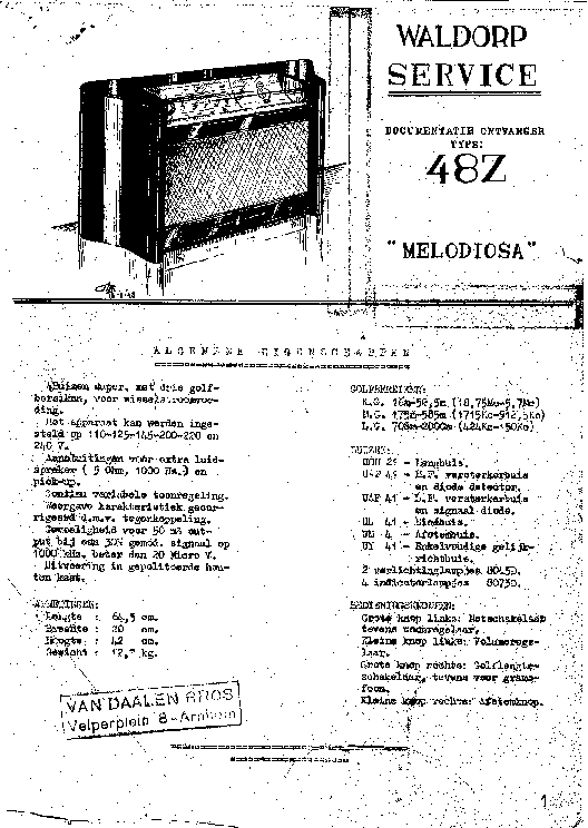 WALDORP 48Z MELODIOSA AC RADIO SM Service Manual download
