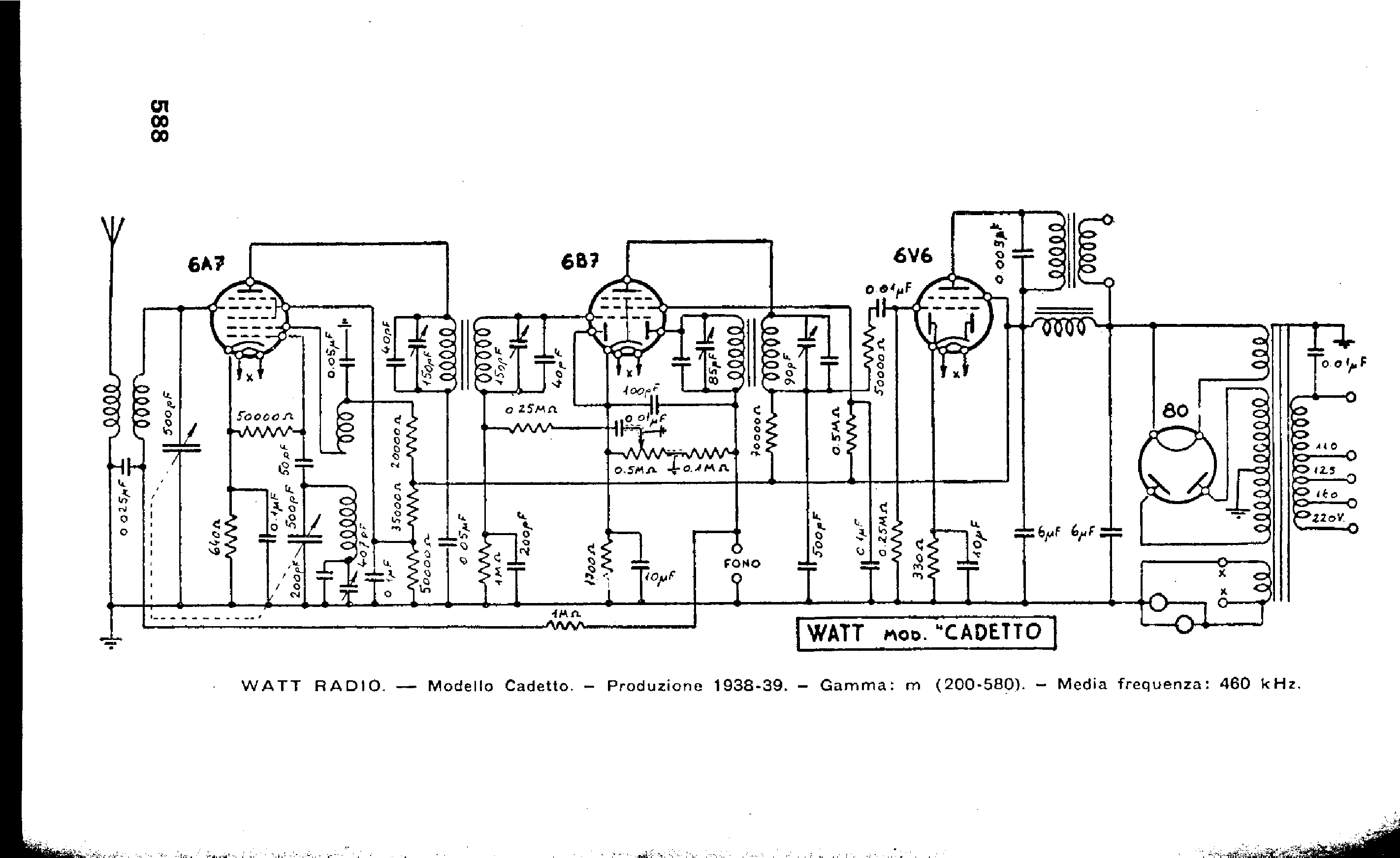 WATT RADIO-CADETTO Service Manual download, schematics