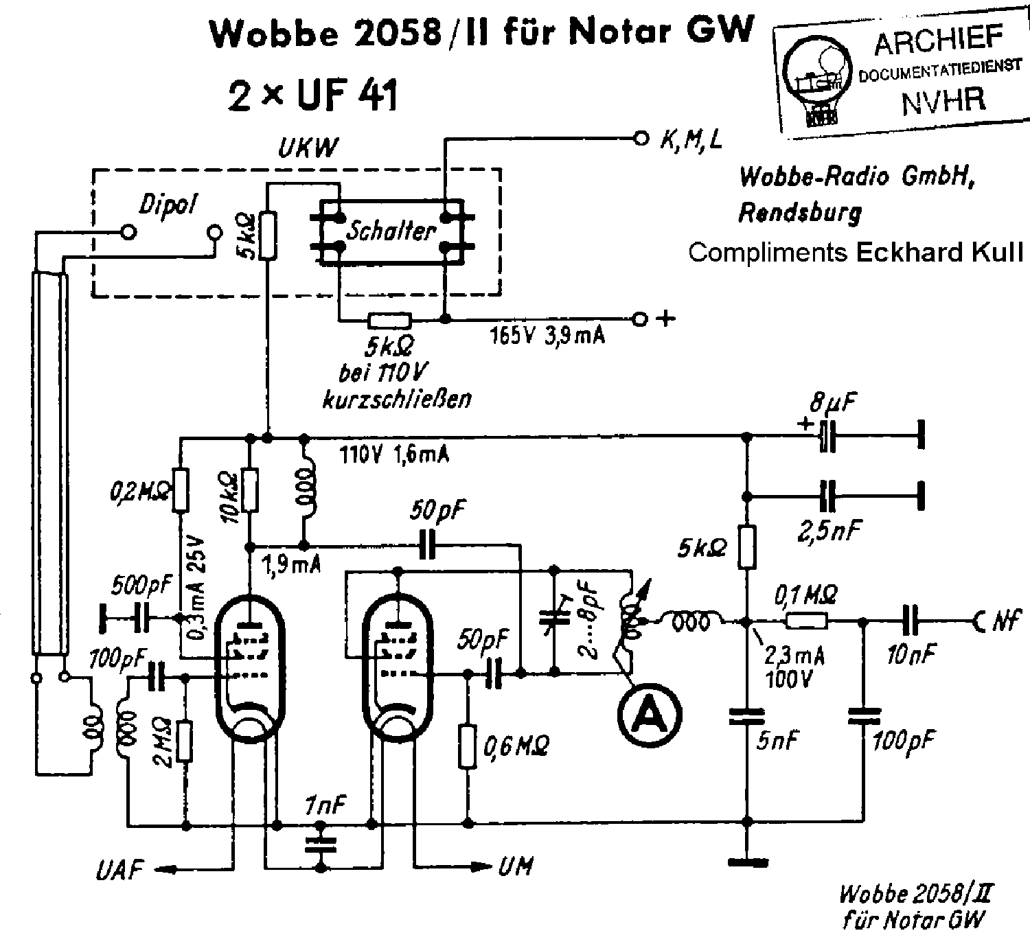 WOBBE 2058-II VHF-ADAPTER FOR NOTAR-GW SCH Service Manual