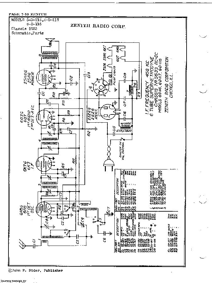 ZENITH 6-D-116 SCH Service Manual download, schematics