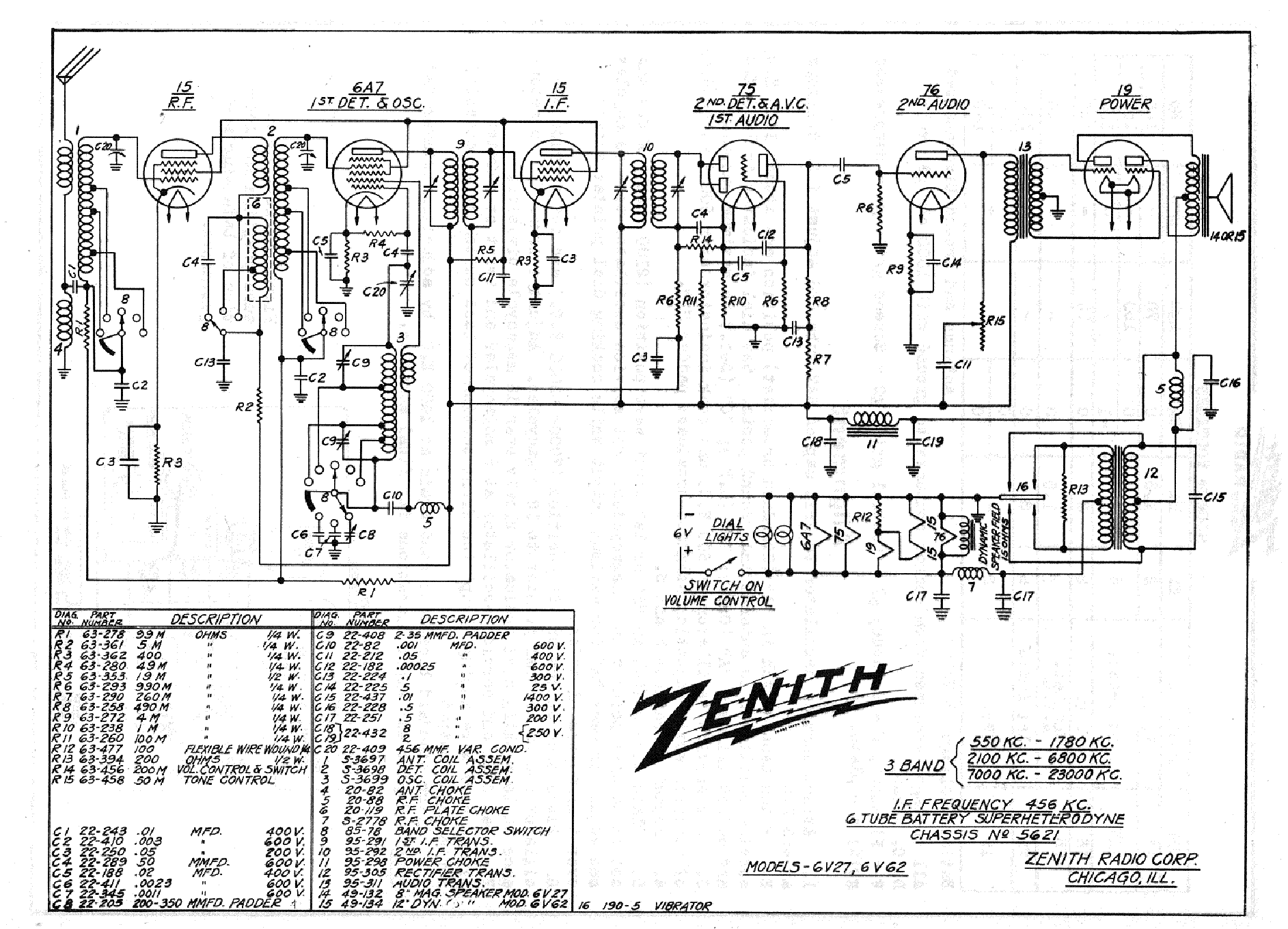 ZENITH 6V27,6V62 SCH Service Manual download, schematics