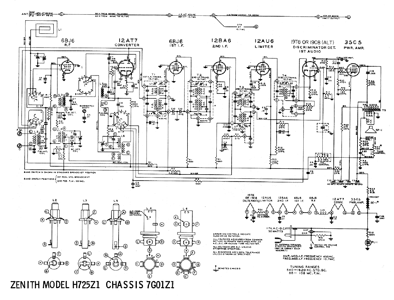 ZENITH H725Z1 SCH Service Manual download, schematics