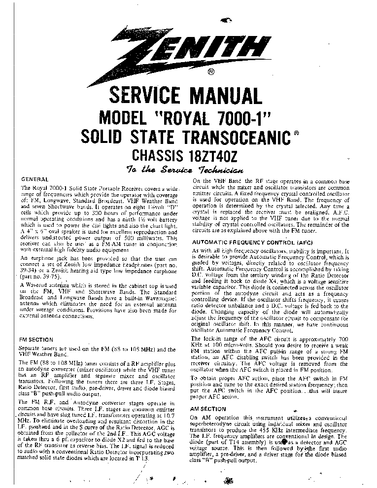 ZENITH ROYAL7000-1 Service Manual download, schematics