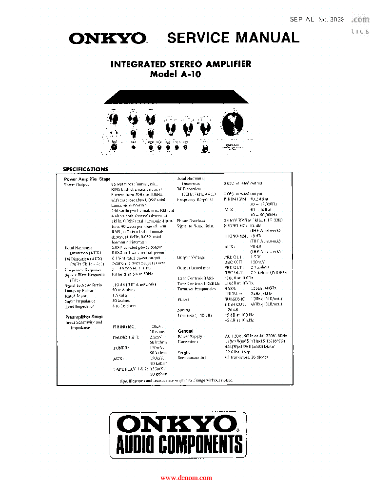 ONKYO A-10 INTEGRATED AMPLIFIER SM SCH Service Manual