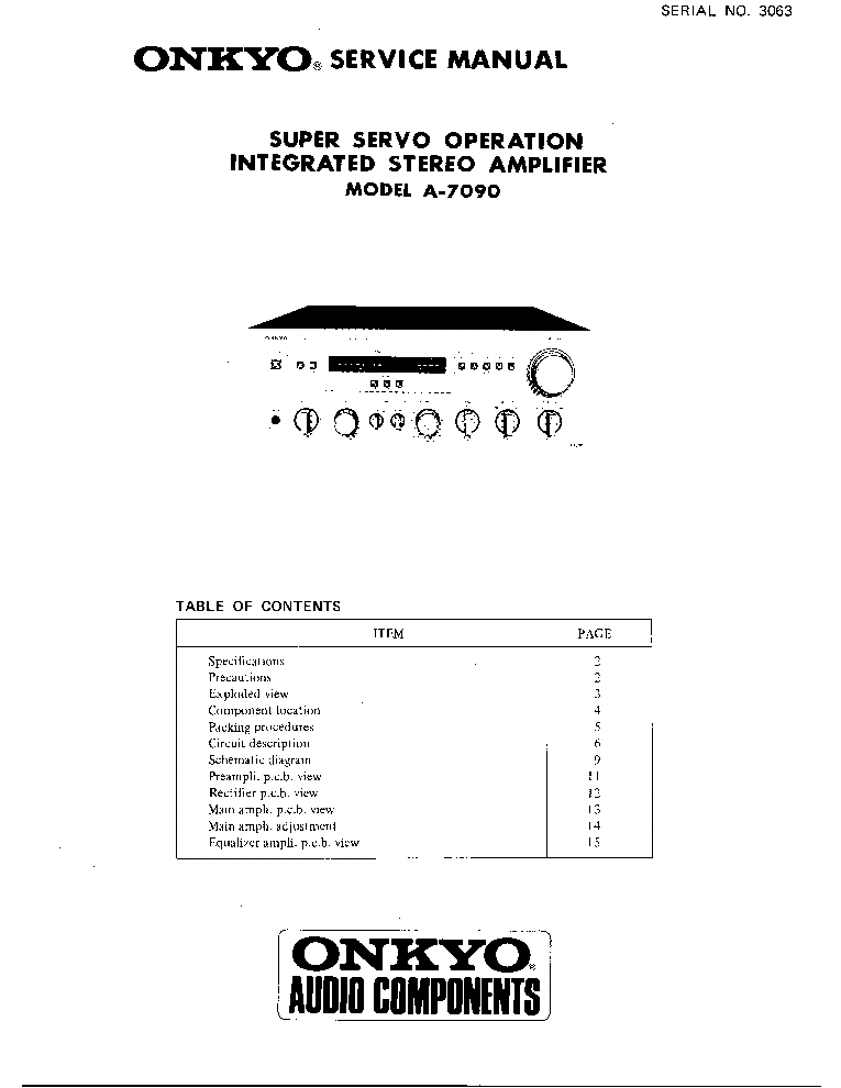 ONKYO A-7090 SM 1 Service Manual download, schematics