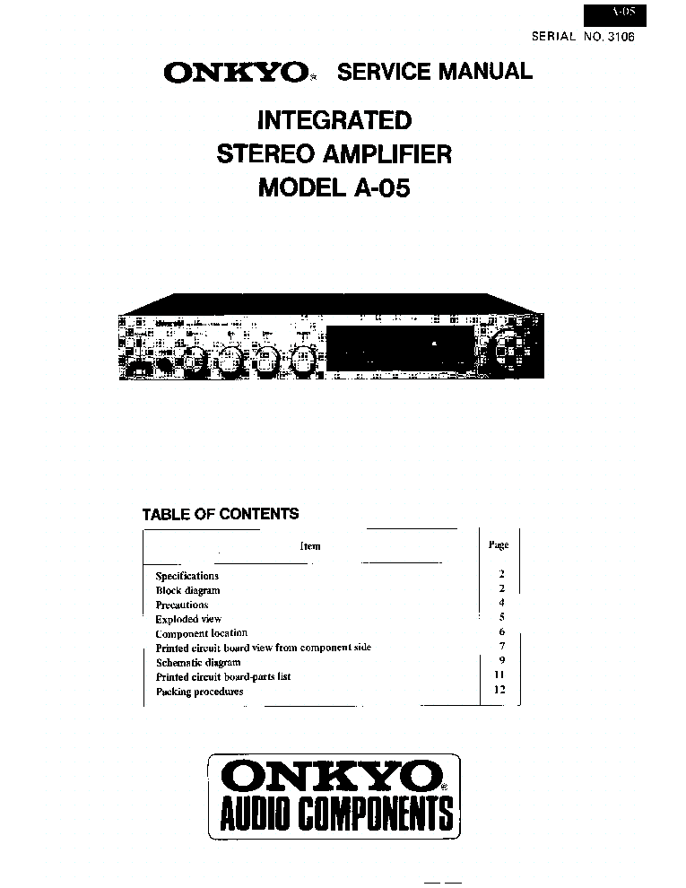 ONKYO A05 Service Manual download, schematics, eeprom