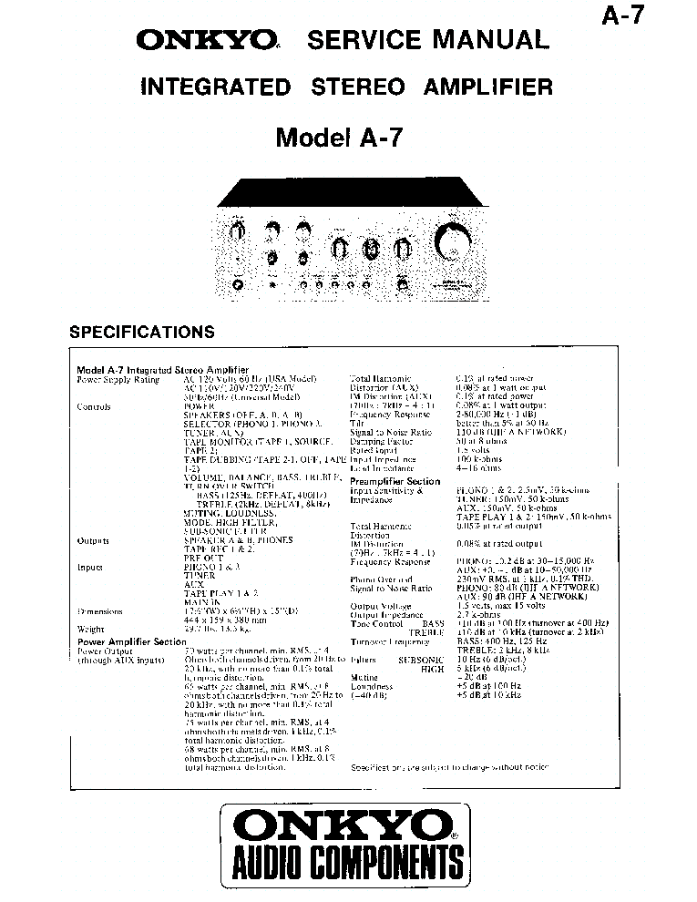 ONKYO A7 Service Manual download, schematics, eeprom