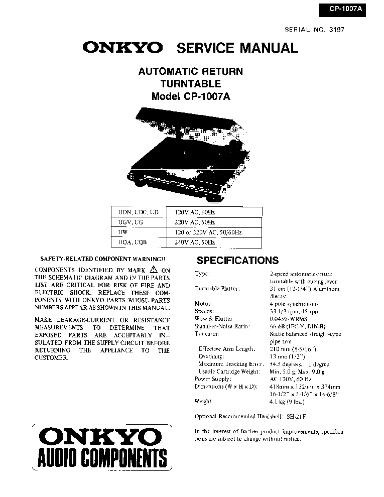 ONKYO CP-1007-A Service Manual download, schematics