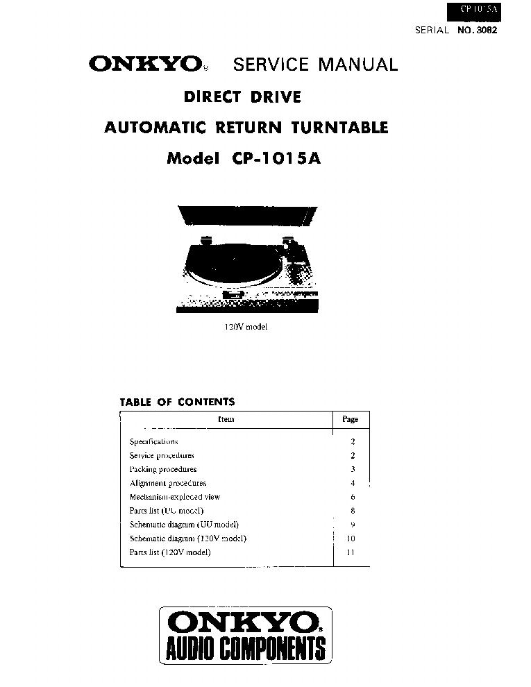 ONKYO CP-1015A SM Service Manual download, schematics