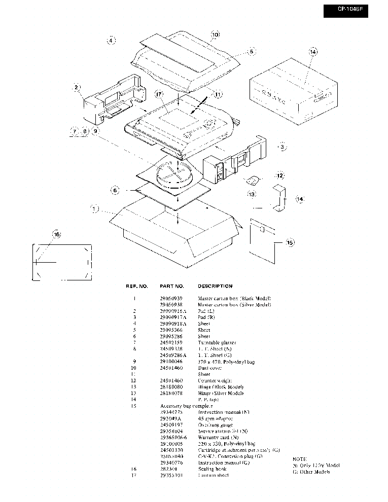 ONKYO CP-1046F SM Service Manual download, schematics