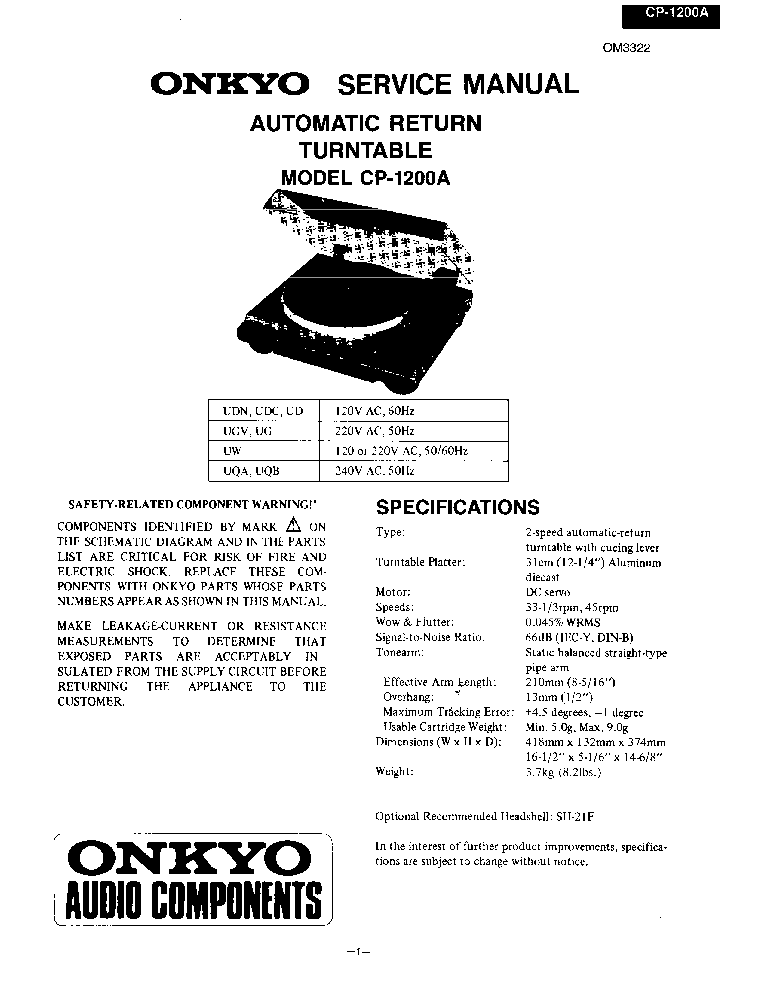 ONKYO R-05 SM Service Manual free download, schematics