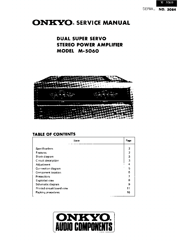 ONKYO M-5060 SM Service Manual download, schematics