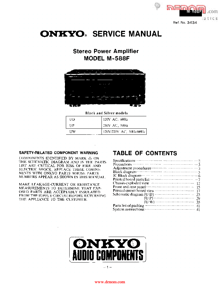 ONKYO TX-SR875 Service Manual download, schematics, eeprom