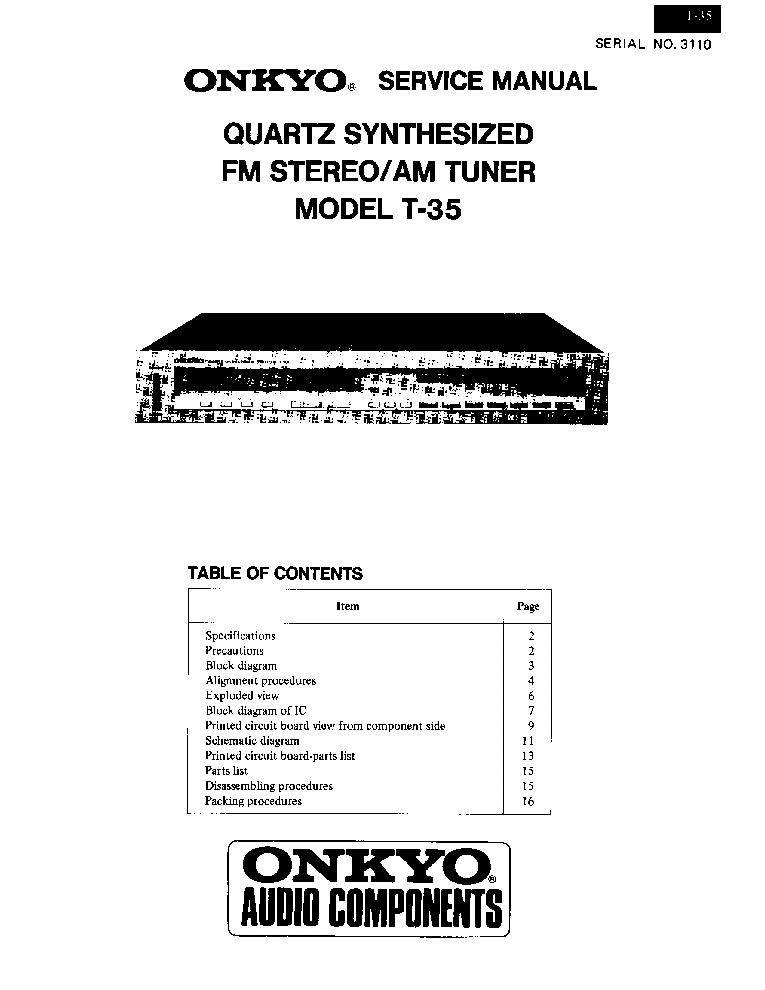 ONKYO T-35 Service Manual download, schematics, eeprom
