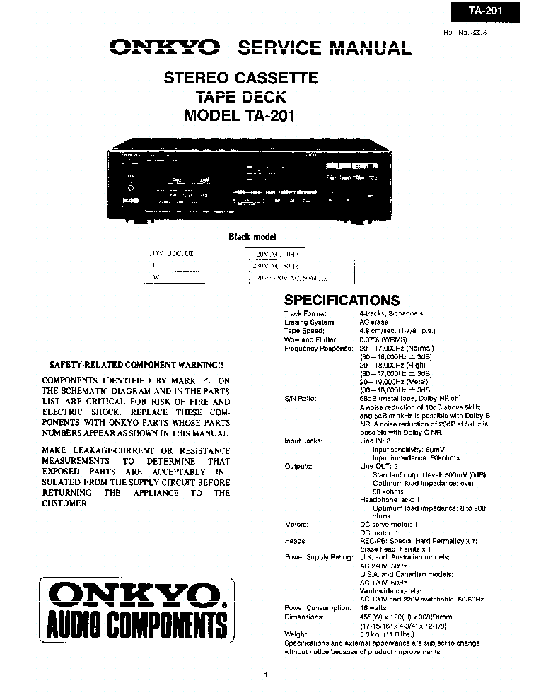 ONKYO TA-201-SM-TAPE-DECK Service Manual download