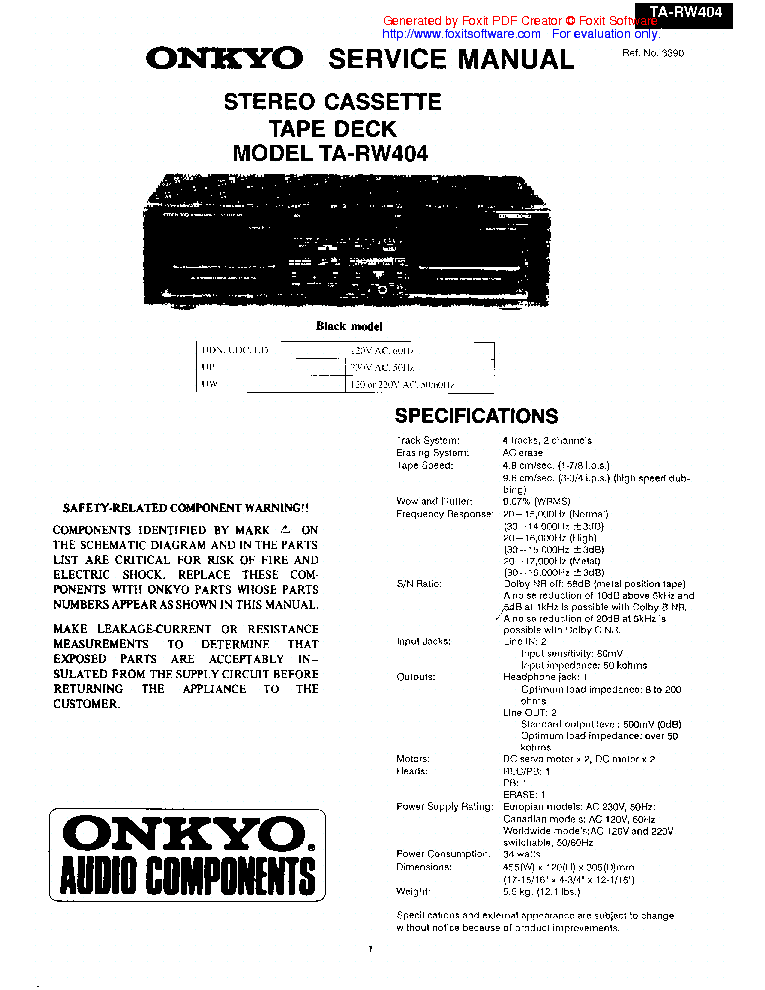 ONKYO TX-DS989 SM Service Manual download, schematics