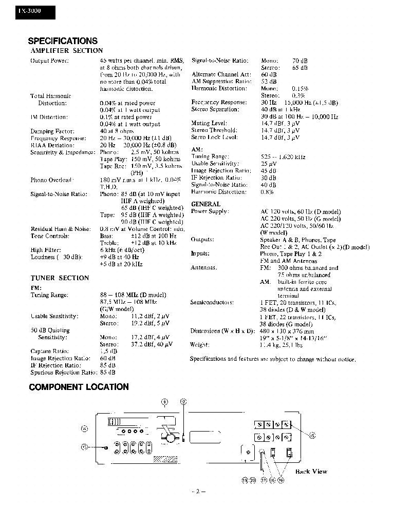 ONKYO TX-3000 Service Manual download, schematics, eeprom