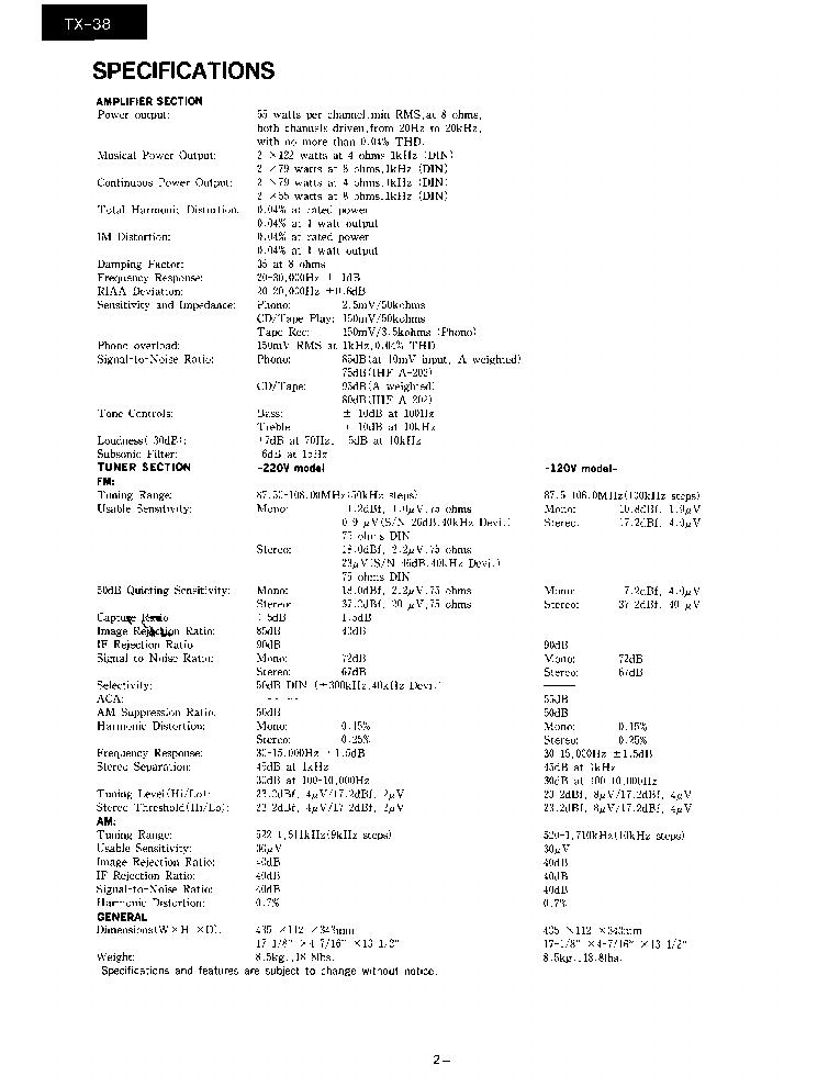 ONKYO TX-38-SM-TUNER-AMP Service Manual download