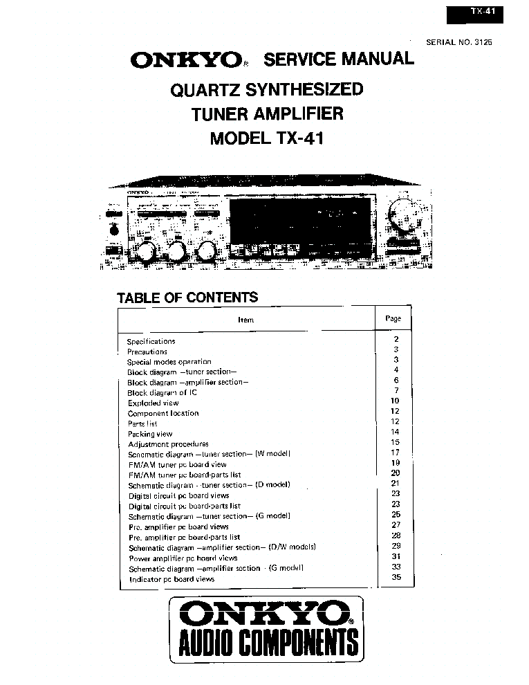 ONKYO TX-41-SM-TUNER-AMP Service Manual download