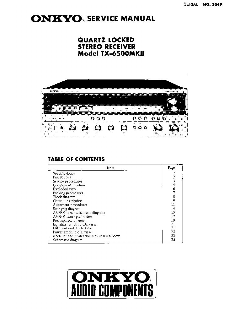 ONKYO TX-6500MKII-SM-RECEIVER Service Manual download