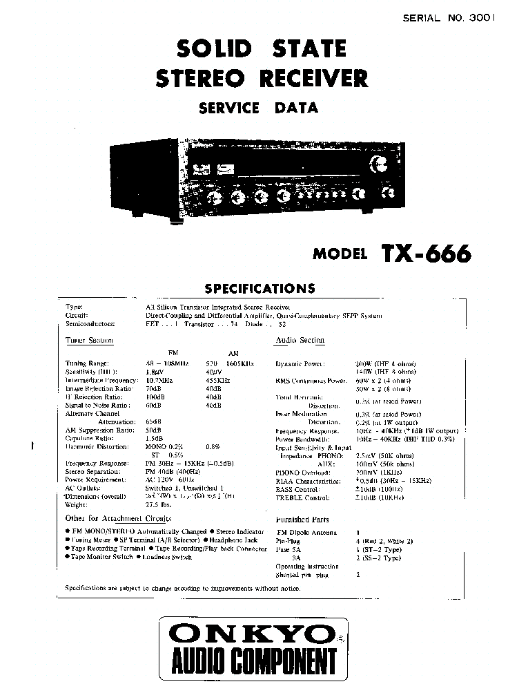 ONKYO SKW-100 POWERED SUBWOOFER SM Service Manual free