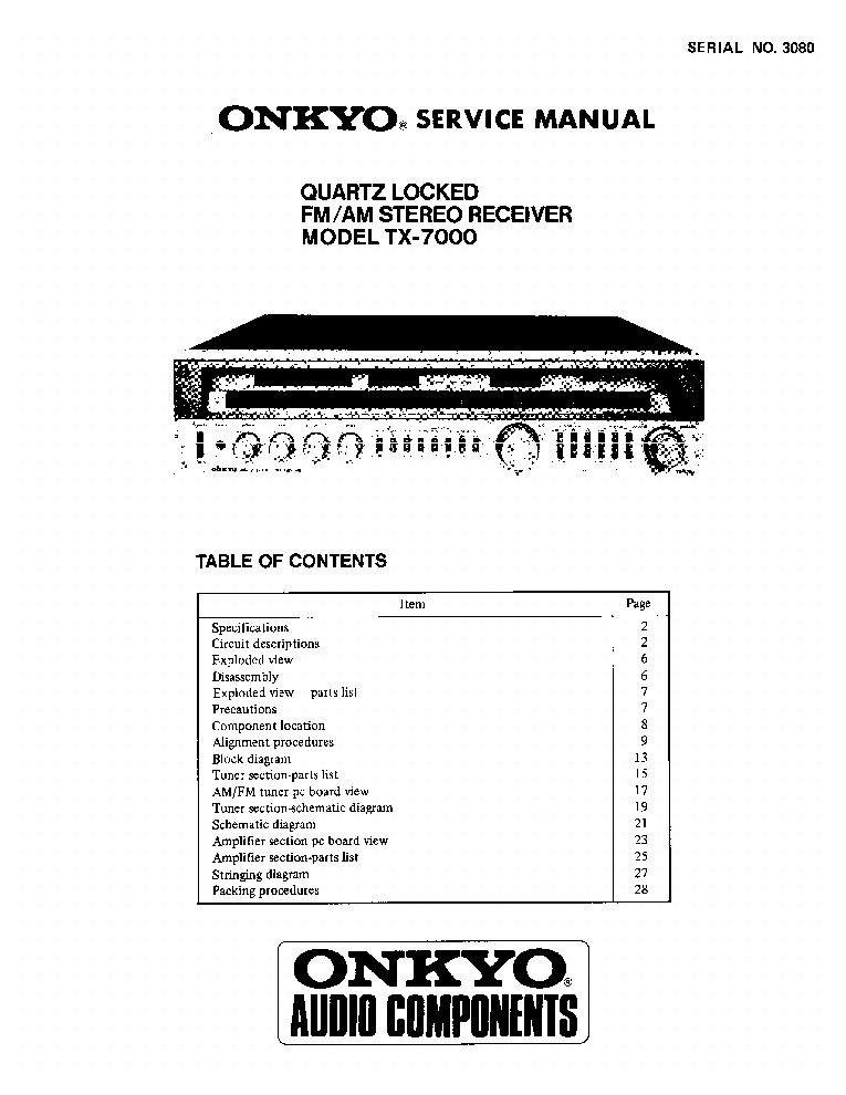 ONKYO TX-7000-SM-RECEIVER Service Manual download