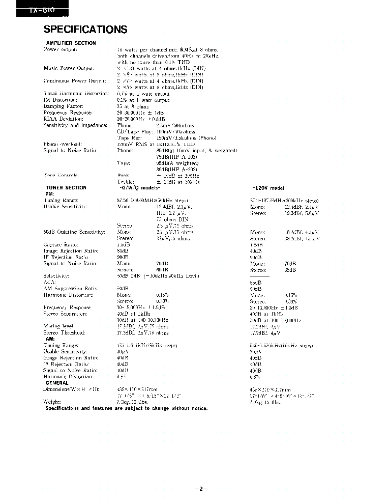 ONKYO TX-810-SM-TUNER-AMP Service Manual download