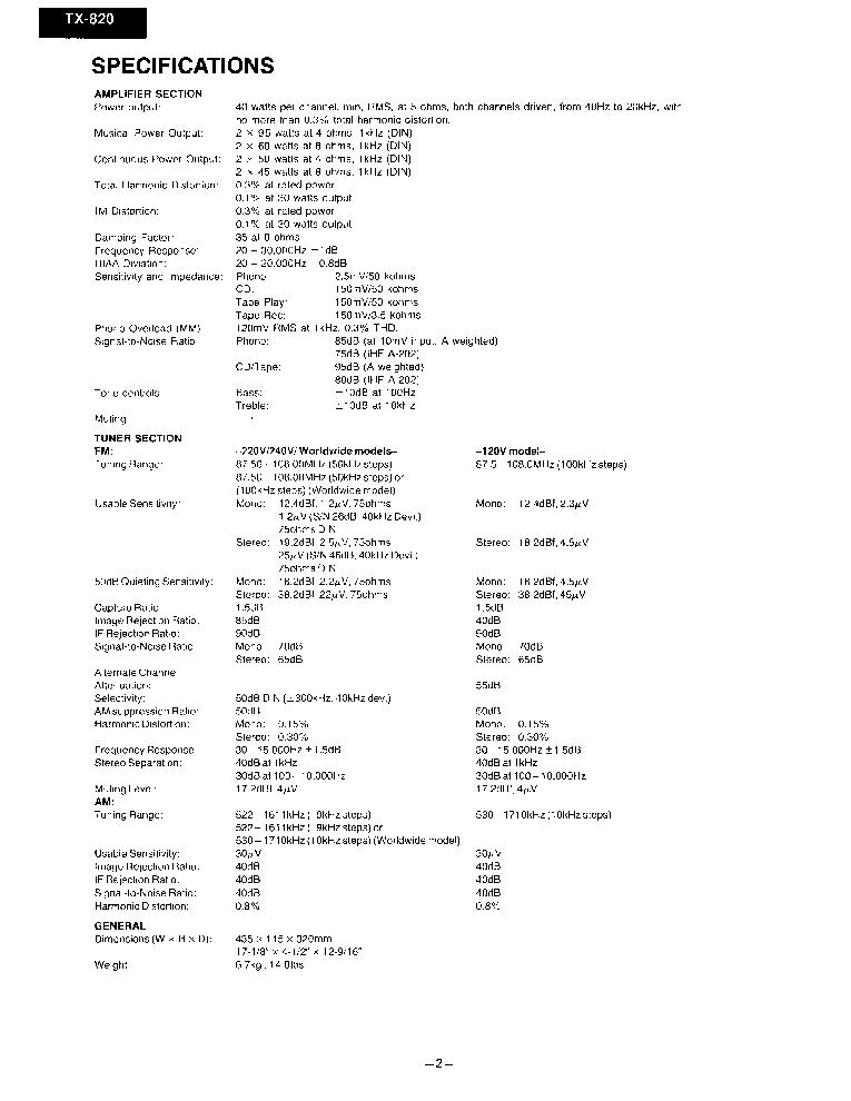 ONKYO TX-820 SM Service Manual download, schematics