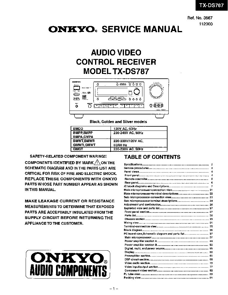 ONKYO TX-DS787-SM-AV-RECEIVER Service Manual download