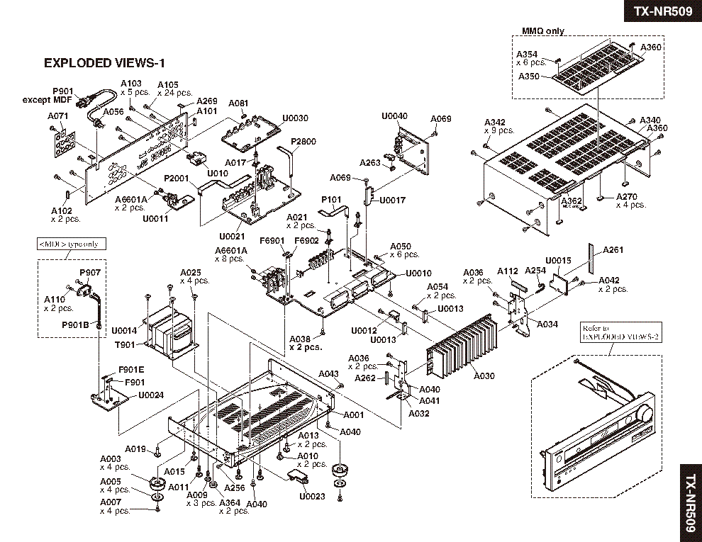 ONKYO TX-NR509 Service Manual download, schematics, eeprom