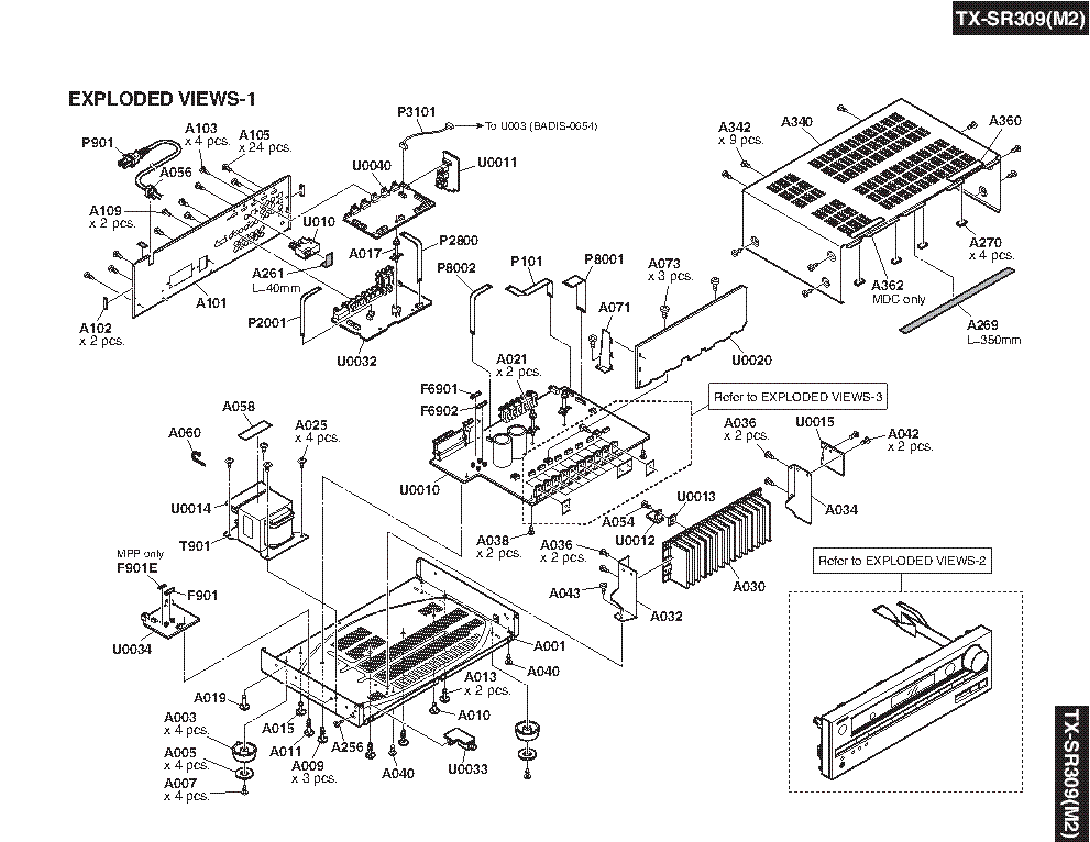 ONKYO TX-SR309 MARK II Service Manual download, schematics